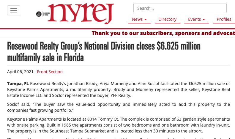 Rosewood Realty Group's National Division closes $6.625 million multifamily sale in Florida