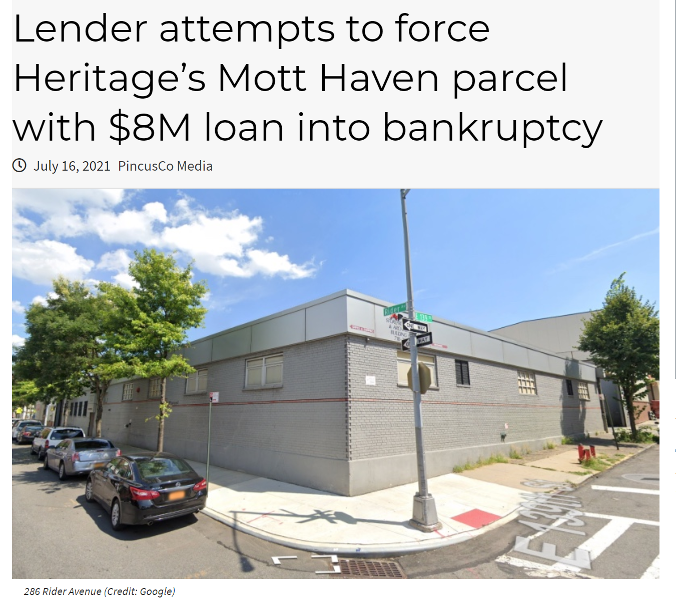 Lender attempts to force Heritage's Mott Haven parcel with $8M loan into bankruptcy