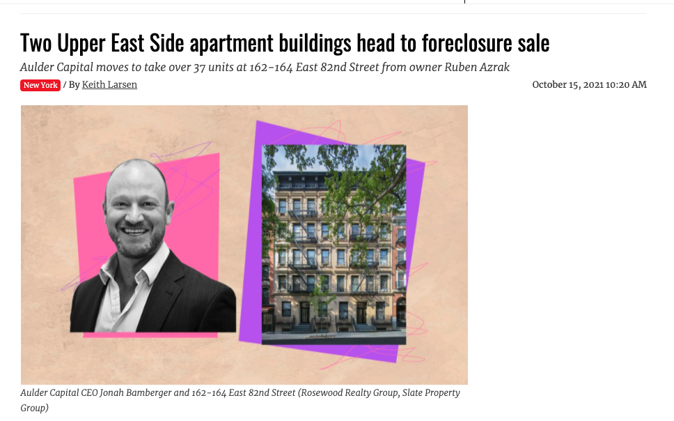 Aulder Capital Seeks To Foreclose On UES Apartment Building